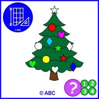 hra ozdob stromček - priraď podľa tvaru a polohy