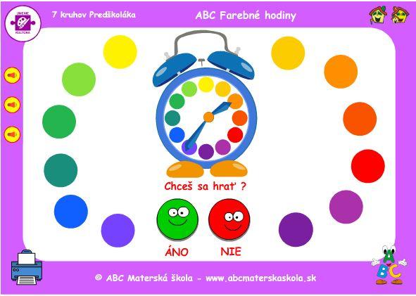 ABC Budík - farebné hodiny a farby - hra