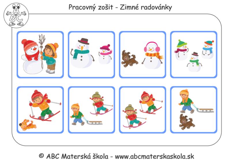 Zimné radovánky - Pracovné listy PDF