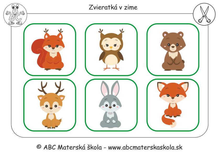 Zvieratká v zime - Pracovné listy PDF