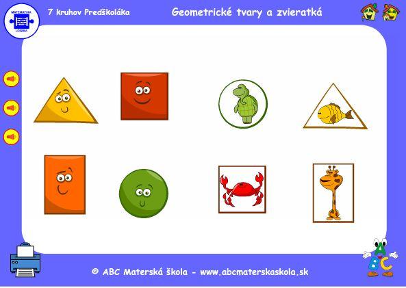 hra geometrické tvary a zvieratká