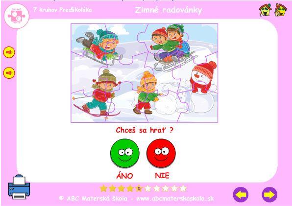 Zimné radovánky - hra puzzle