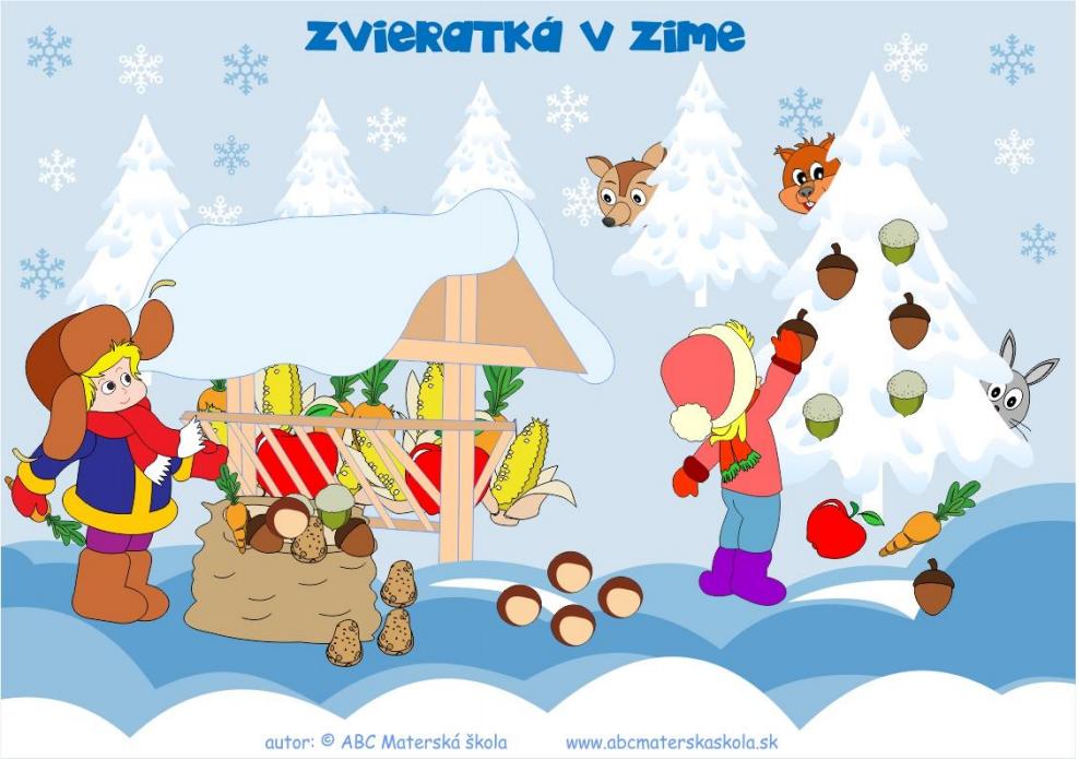 Farebná predloha Zvieratká v zime