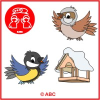 vtáčiky v zime - farebné predlohy