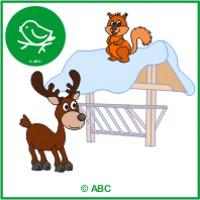 zvieratká v zime - farebné predlohy