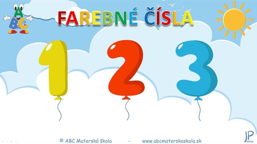 farebné čísla, 1,2,3, matematika, počítanie