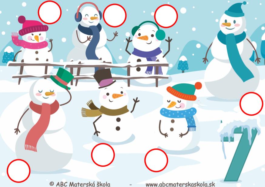 Snehuliaci - Čísla od 1 do 10 - Pracovné listy laminát