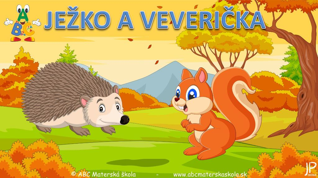 ježko a veverička, príroda, živočíchy, lesné plody, hrušky, huby, básnička, video príbeh