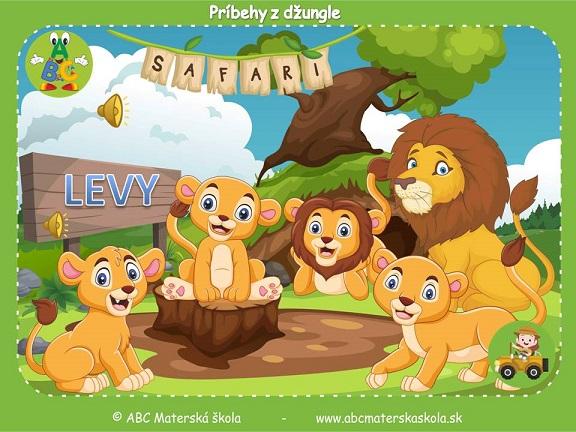 safari pre materské školy, zvieratá z džungle, vzdelávací príbeh pre deti, levy