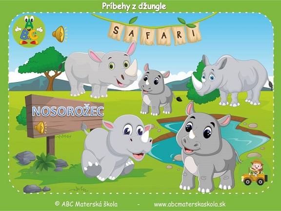 safari pre materské školy, zvieratá z džungle, vzdelávací príbeh pre deti, nosorožce
