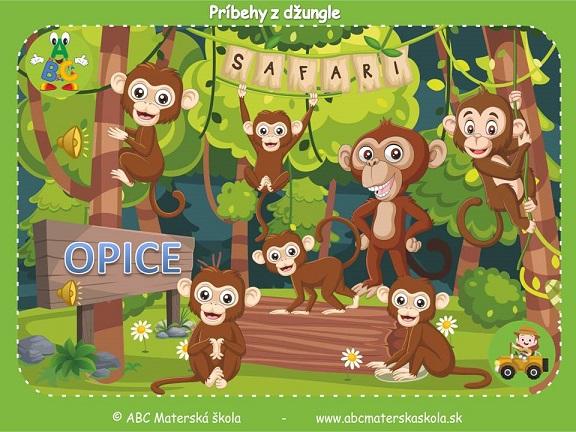 safari pre materské školy, zvieratá z džungle, vzdelávací príbeh pre deti, opice