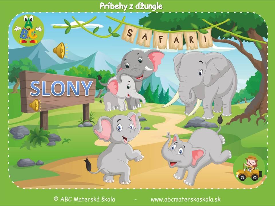 safari pre materské školy, zvieratá z džungle, vzdelávací príbeh pre deti, slony