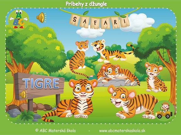 safari pre materské školy, zvieratá z džungle, vzdelávací príbeh pre deti, tigre