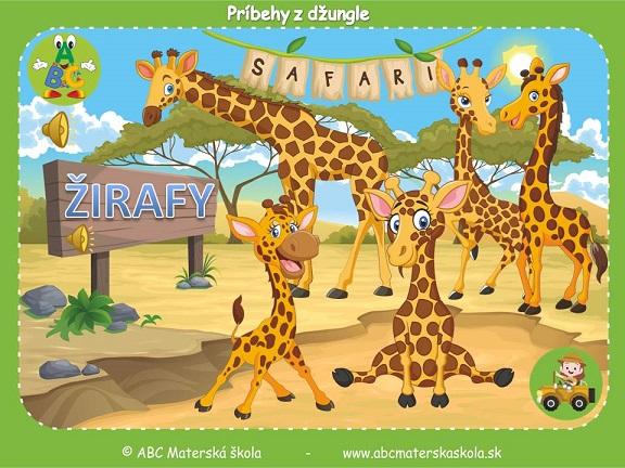 safari pre materské školy, zvieratá z džungle, vzdelávací príbeh pre deti, žirafy